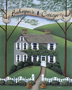 Primitive Art Prints - Beekeepers Cottage Print by Catherine Holman