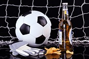 Beer Pyrography Prints - Beer And Soccer  Print by John Vito Figorito