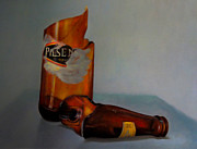 Pilsner Posters - Beer Bottle Art Poster by Al Bourassa