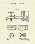 Beer Drawings Prints - Beer Faucet 1885 Patent Art Print by Prior Art Design