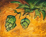 Hops Painting Framed Prints - Beer Hops Allegro I Framed Print by Alexandra Ortiz de Fargher