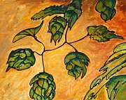 Hops Painting Framed Prints - Beer Hops Allegro II Framed Print by Alexandra Ortiz de Fargher