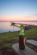 Beer Framed Prints - Beer in the Sunset in OBX Framed Print by Kay Pickens