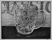 Glass Drawings Originals - Beer Mug by S Aili