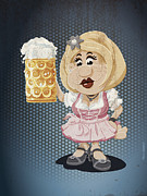 Dirty Prints - Beer Stein Dirndl Oktoberfest Cartoon Woman Grunge Color Print by Frank Ramspott