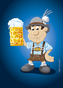Beer Prints - Beer Stein Lederhosen Oktoberfest Cartoon Man Print by Frank Ramspott