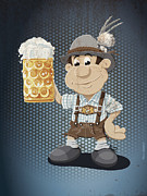 Deutschland Posters - Beer Stein Lederhosen Oktoberfest Cartoon Man Grunge Color Poster by Frank Ramspott