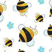 Flower Design Prints - Bees Print by Esteban Studio