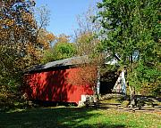 Indiana Autumn Art - Beeson Covered Bridge 1 by Mel Steinhauer