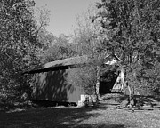 Wooden Bridges Photos - Beeson Covered Bridge 1bw by Mel Steinhauer