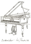 Early Drawings Originals - Beethovens Broadwood Grand  Piano by Ira Shander