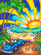 Surf Lifestyle Paintings - Beetle Bug Beach by Drew Brophy