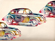Urban Watercolor Digital Art Prints - Beetle Car Print by Mark Ashkenazi