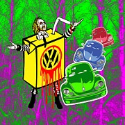 Vw Beetle Mixed Media Framed Prints - Beetlejuice Framed Print by Alan Hogan