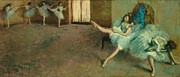 Warming Up Prints - Before the Ballet Print by Edgar Degas