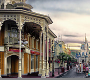 Walt Disney World Photographs Framed Prints - Before The Gates Open Main Street Magic Kingdom WDW Framed Print by Thomas Woolworth