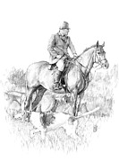 Horse Drawings Posters - Before the Hunt Poster by Debra Jones