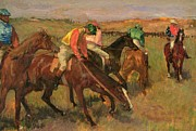 Horserace Posters - Before the Races Poster by Edgar Degas