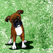 Befuddled Brindle Boxer Print by Kim Niles