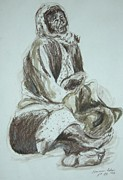 Live Art Drawings Prints - Beggar in the Ghetto Print by Esther Newman-Cohen