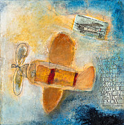 Plane Mixed Media Metal Prints - Begin Now Metal Print by Laurie Doctor