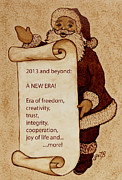 Santa Claus Prints - Begining of a New Era Print by Georgeta  Blanaru
