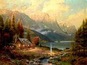 Kinkade Painting Posters - Beginning of a Perfect Day Poster by Thomas Kinkade