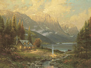 Mountain Cabin Painting Framed Prints - Beginnning of a Perfect Day Framed Print by Thomas Kinkade
