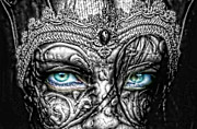 Monochromatic Digital Art Prints - Behind Blue Eyes Print by Mo T