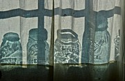 Mason Jars Photos - Behind the curtains by Sue McGlothlin