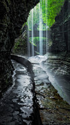 Watkins Glen New York Posters - Behind the Falls Poster by Bill  Wakeley