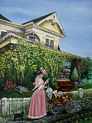 Gown Paintings - Behind the Garden Gate by Linda Simon