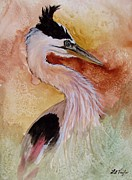Egrets Paintings - Behind the Grasses by Lil Taylor