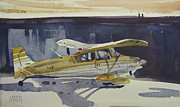 Piper Cub Prints - Behind the Hanger Print by Donald Maier
