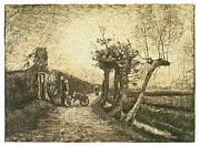 Dirt Drawings - Behind the Hedges by Vincent van Gogh