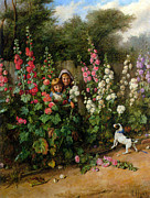 Puppy Digital Art - Behind The Hollyhocks by Charles Hunt