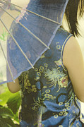 Chinese Woman Posters - Behind the Umbrella Poster by Margie Hurwich