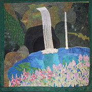Art Quilt Tapestries - Textiles Prints - Behind The Waterfall Print by Aisha Lumumba
