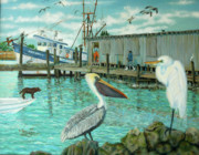 Egret Painting Originals - Behind Wando Shrimp Co. by Dwain Ray