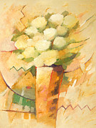 Flowers Impressionist Paintings - Beige Flowers by Lutz Baar