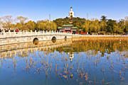 Pagoda Framed Prints - Beijing Beihai Park and the White Pagoda Framed Print by Colin and Linda McKie