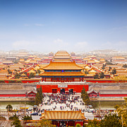 High Angle View Framed Prints - Beijing Forbidden City Skyline Framed Print by Colin and Linda McKie