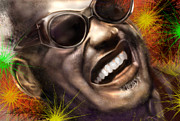 Entertainer Painting Framed Prints - Being Ray Charles Framed Print by Reggie Duffie