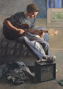 Acoustic Guitar Paintings - Being Sixteen by Anna Bain
