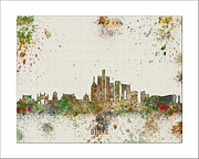 Boston Skyline Paintings - Bejeng skyline by WaterColorMaps Chris and Mary Ann