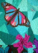 Turquoise Tapestries - Textiles Prints - Bejeweled Butterfly Two Print by Jean Baardsen
