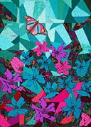 Butterfly Tapestries - Textiles Prints - Bejeweled Print by Jean Baardsen