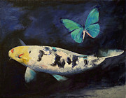 Japanese Koi Framed Prints - Bekko Koi and Butterfly Framed Print by Michael Creese