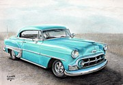 Car Pastels Framed Prints - Bel Air Framed Print by Heather Gessell