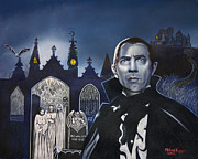 Dracula Drawings - Bela Lugosi and his brides by Michael Jager